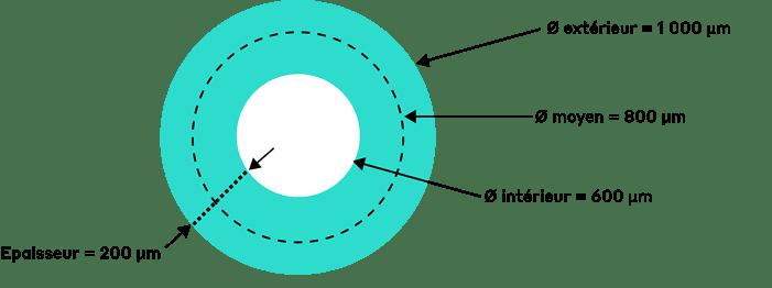 Les dimensions nominales de l'anneau formé par CANUNDA-HP