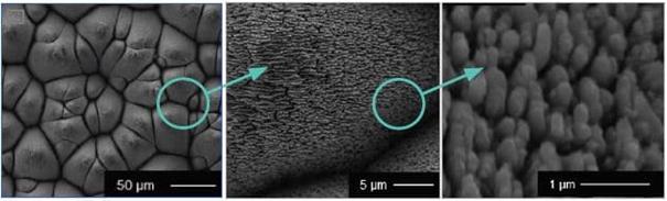 exemple de structures périodiques de surface générées par laser femtoseconde sur de l'acier inoxydable (source image, use case Alphanov)